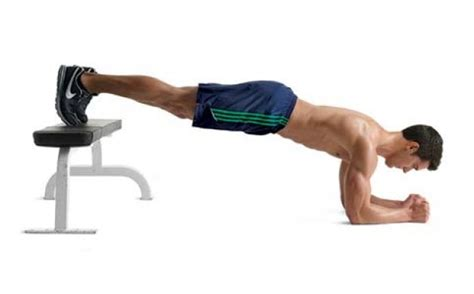 plank with feet on bench core exercises using adjustable cables medicine ball and
