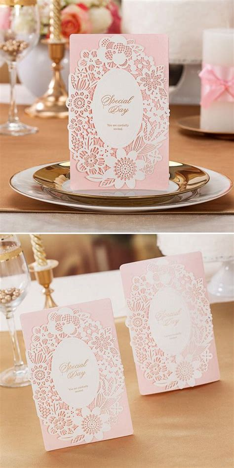 Pink Blush Lace Laser Cut Wedding Invitations All In One Invitation Rs 26 best tarjetas de 15 a 241 os images on