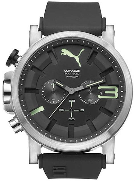 Mens Pu102941006 Ultrasize S Ultrasize Black And Green Silicone Chronograph