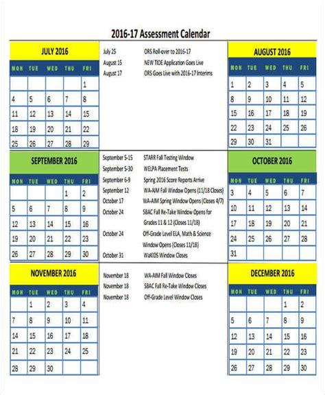 9 Assessment Calendar Templates Exles In Word Pdf Sle Templates Testing Calendar Template