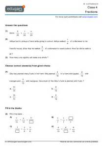 grade 4 math worksheets and problems fractions edugain