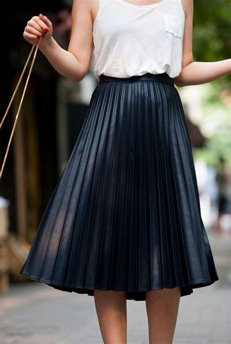 Get The Pleated Look As Seen In Hong Kong On The Sartorialist by Best 25 Black Pleated Midi Skirt Ideas On