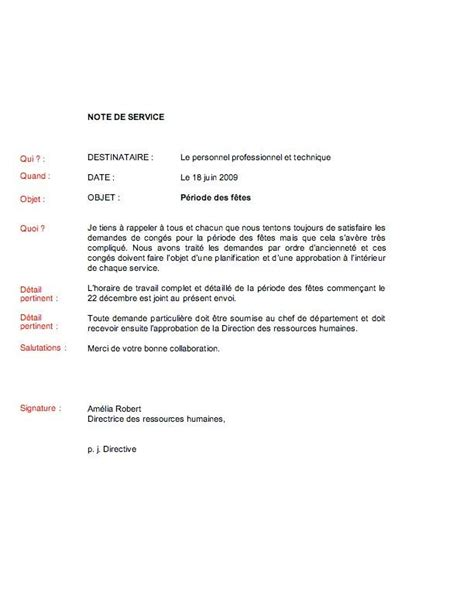 Modeles De Lettre D Information Modele Note De Service Rappel Document