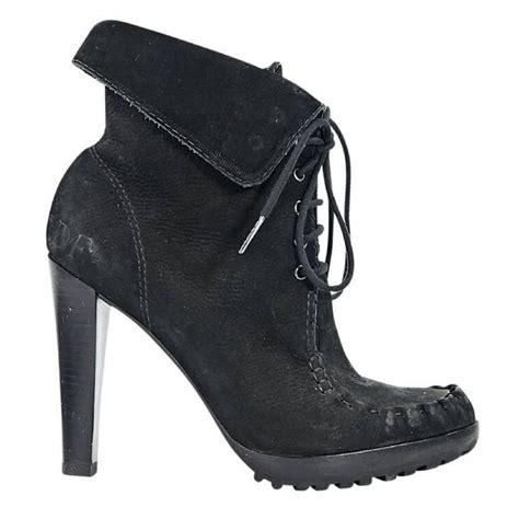 black diane furstenberg suede ankle boots for