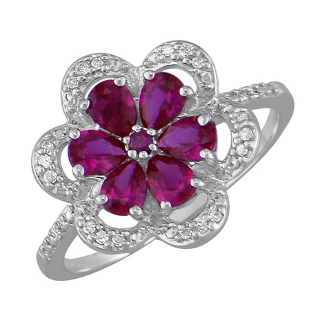 lab created pear ruby flower and accent ring in