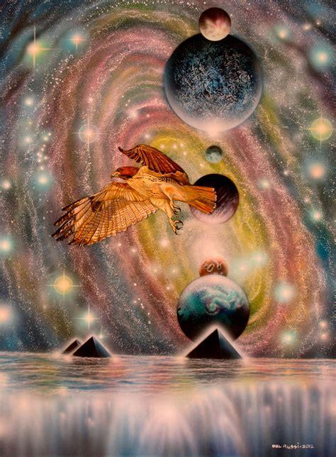 sam del russi artwork red tailed hawk reiki original