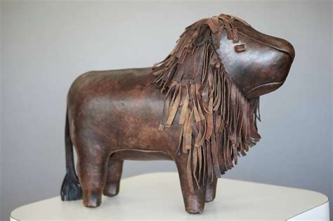ottoman the lion large leather lion footstool by dimitri omersa at 1stdibs