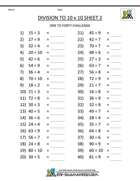 Printable Math Worksheets by Printable Division Worksheets 3rd Grade