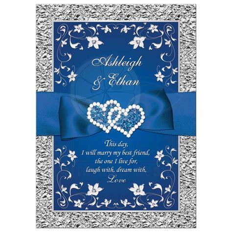 wedding invitations royal blue and silver royal blue wedding invitation faux foil silver floral