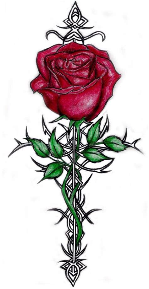 rose of sharon tattoo of celtic cross ink me