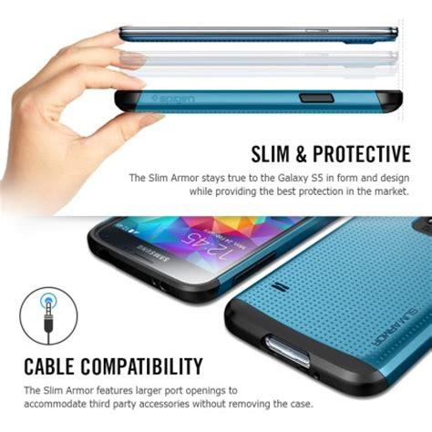 Spigen Slim Armor For Galaxy S5 spigen sgp slim armor for samsung galaxy s5 blue