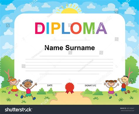 kids diploma certificate background design template 스톡 벡터