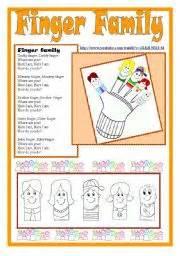 english worksheet finger family kit