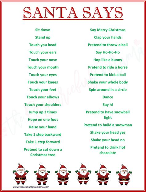 free printable christmas games church party santa says game for christmas parties free printable