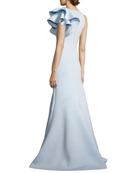 jovani ruffle trim scuba mermaid gown light blue