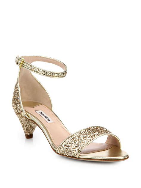 glitter sandals lyst miu miu jeweled glitter kitten heeled sandals in