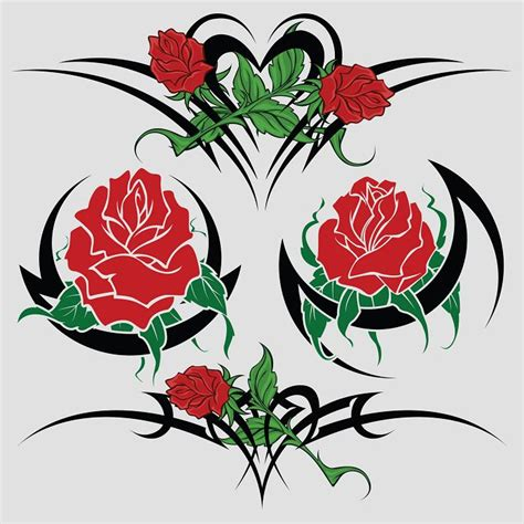 flower tattoo vector free rose and flower tattoo designs clipart best