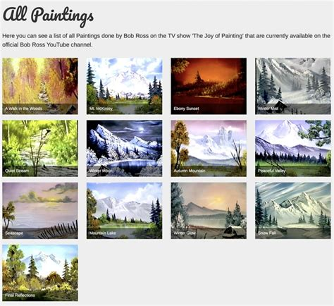 bob ross painting water reflections a searchable database for every bob ross canvas from