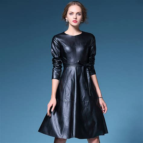 Long Sleeve Leather Dress   Uniqistic.com