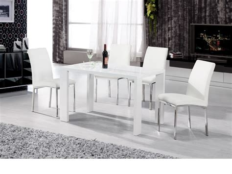 High Chair Dining Set White High Gloss Dining Set With 4 Chairs Homegenies