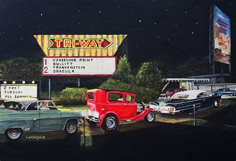 tri way drive in plymouth in history of a painting tri way drive in theatre plymo