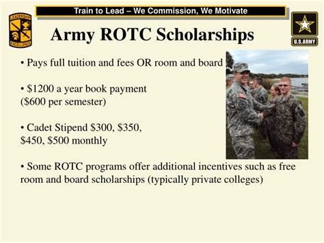 scholarships for room and board ppt army reserve officer corps rotc united states army cadet command powerpoint