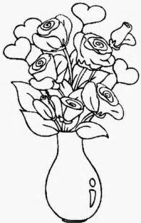 coloring pages of a vase of roses coloring pages