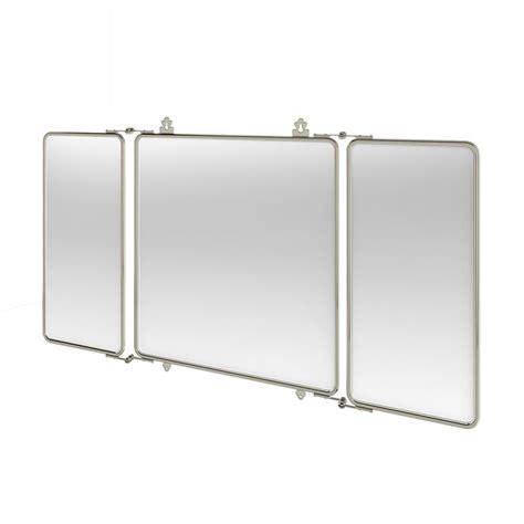Arcade Bathrooms Three Fold Bathroom Mirror With Nickel Plated Brass Frame
