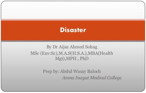 Mph Mba Linkedin by Disaster Managment