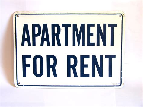 appartement for rent vintage metal apartment for rent sign cobalt blue white