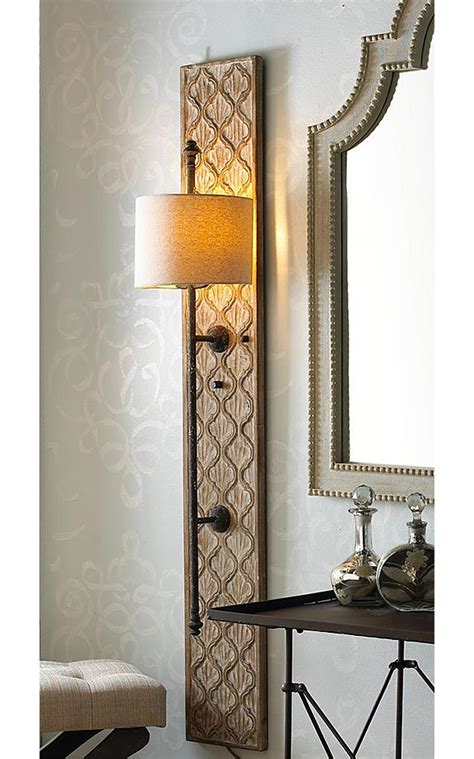 Diy Wall Sconce Light Diy Project Wood Sconce With Embossed Stenciled Design Nomadic Decorator