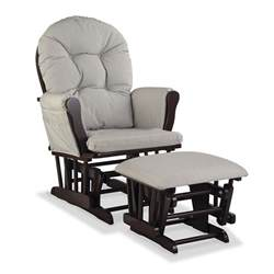 Grey Nursery Rocking Chair Nursery Glider Chair Baby Rocker Furniture Ottoman Set Gray Cushion Black Wood Ebay