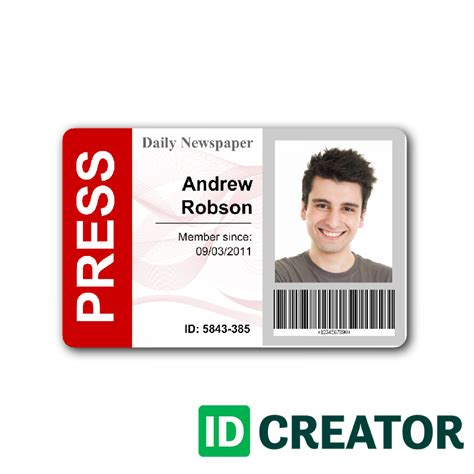 newspaper press pass id from idcreator com