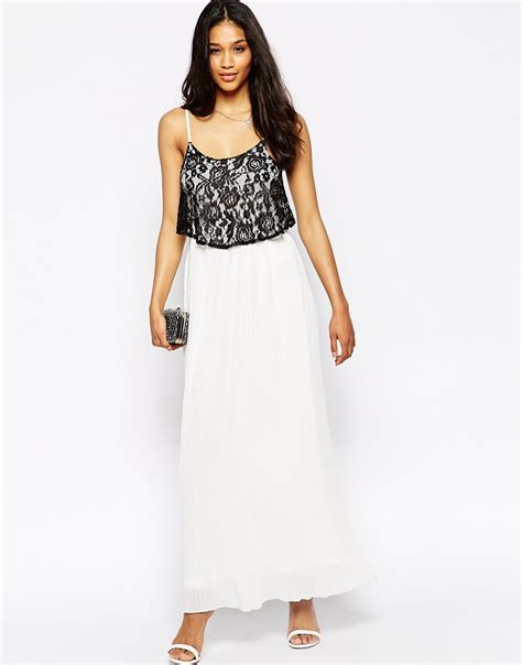 L 815 White Dress lyst club l pleated maxi dress with lace overlay in white