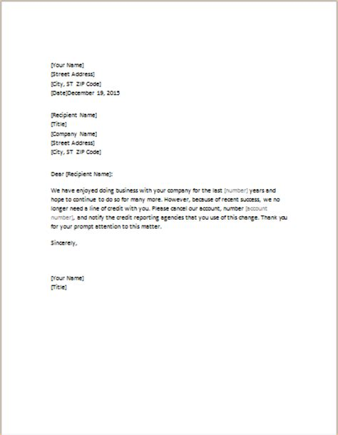 Business Closing Letter To Creditors credit card account cancellation letter template request