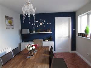 Kitchen Dining Decorating Ideas Dining Room With Navy Blue Feature Wall By Alenacdesign