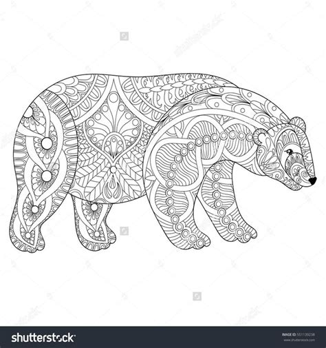 vector zentangle polar bear head for anti stress