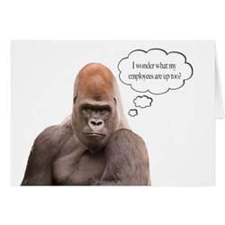 funny gorilla happy birthday boss card greeting card zazzle