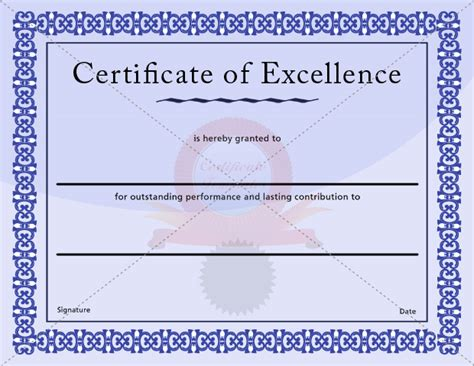 certificate of excellence template certificate of excellence template award for excellence