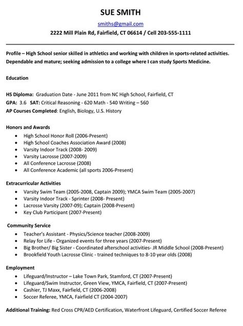 sle high school student resume for college application exle resume for high school students for college