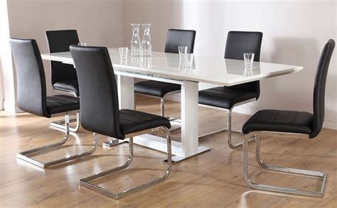 Dining Table With White Chairs Tokyo White High Gloss Extending Dining Table And 6 Chairs Set Perth Black Only 163 699 99