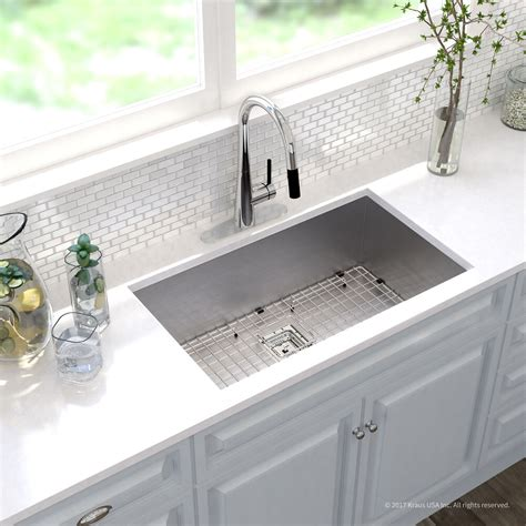 Undermount Sinks Kitchen Kraus Khu32 Pax Stainless Steel Undermount Single Bowl Kitchen Sinks Efaucets