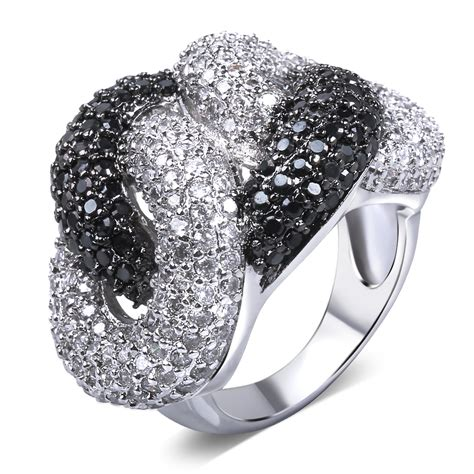 black and white ring gold plated cubic zirconia cz rings