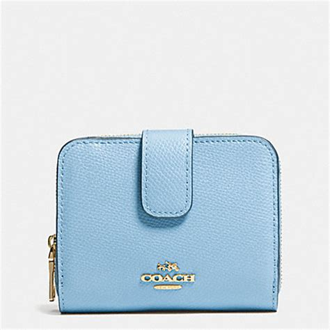 light blue coach wallet 49 5 medium zip around wallet in leather coach f52692