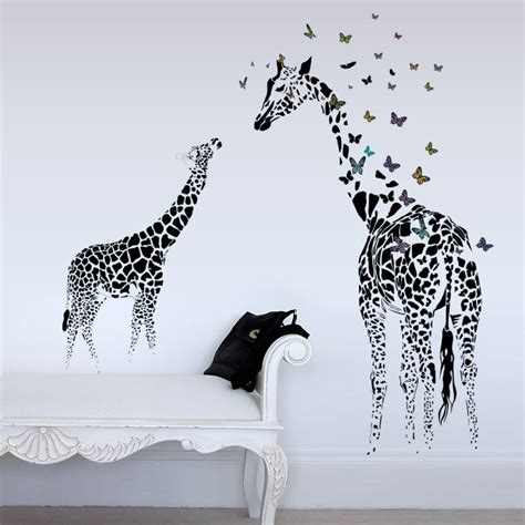 giraffe home decor honana dx 368 3d giraffe colorful butterfly wall sticker