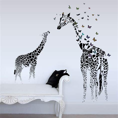 honana dx 368 3d giraffe colorful butterfly wall sticker