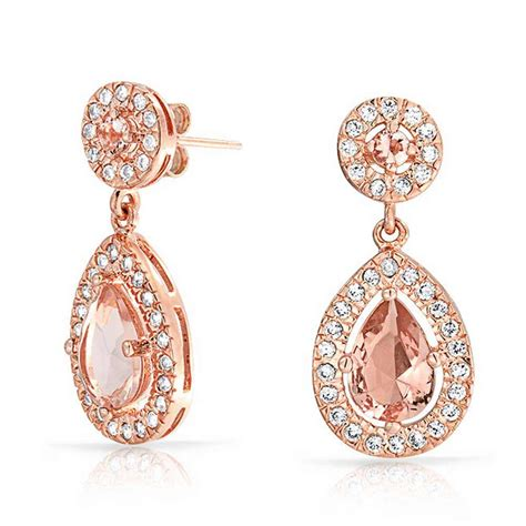 Rose Gold Plated Morganite Color CZ Teardrop Dangle Earrings