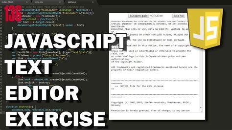 javascript tutorial text editor javascript text editor exle youtube
