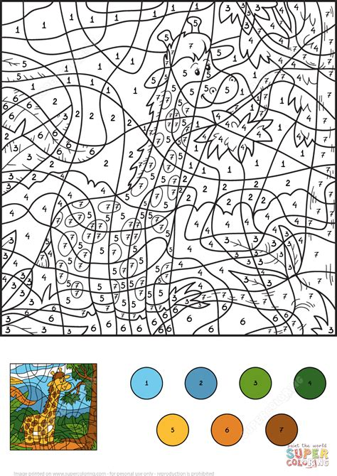 color by number giraffe color by number free printable coloring pages