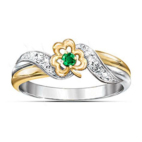 ring lucky shamrock emerald embrace ring
